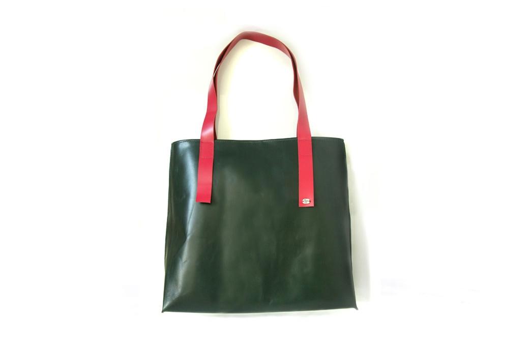 geanta trapez verde & fuchsia