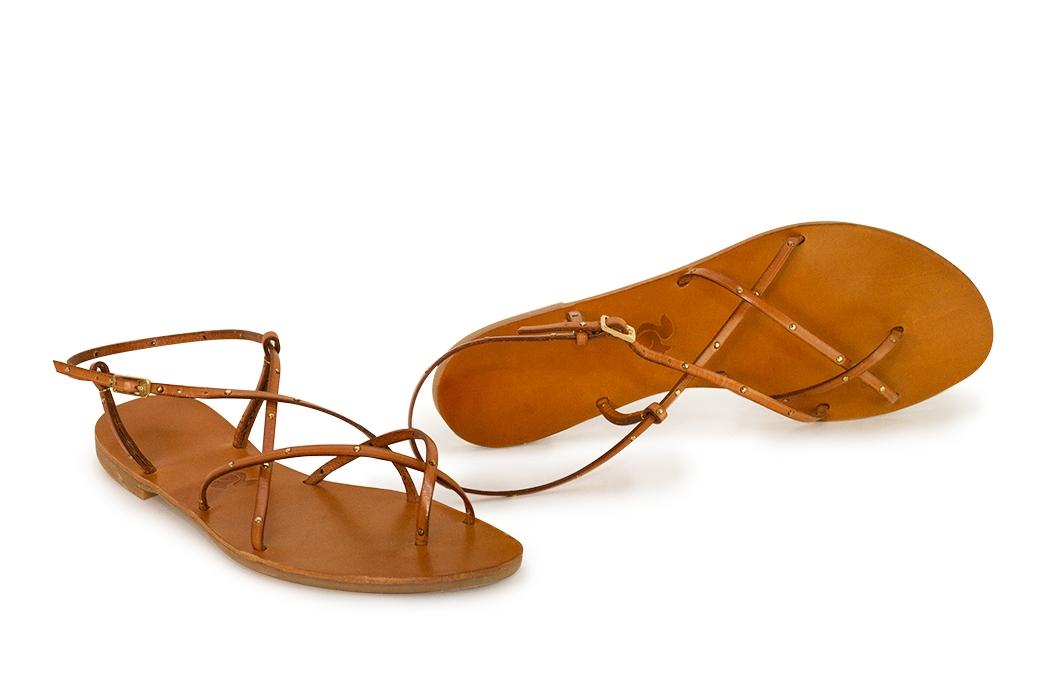sandale paula ocru cu butoni