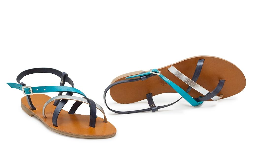 sandale paula bleumarin/argintiu/turcoaz