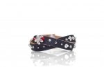 leather bracelet with beads, sequins and other accessories