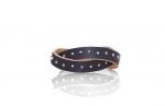 leather bracelet with small glass beads