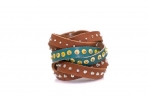 leather bracelet with small sequins and glass beads