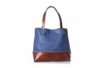 geanta trapez albastru & maro