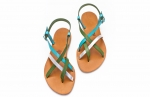 green, turquoise & silver paula sandals