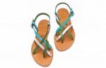 sandale paula in combinatie de verde, turquoise si argintiu