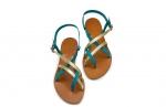 sandale paula turcoaz/auriu