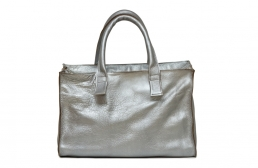geanta din piele argintie
