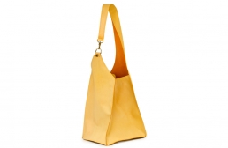 golden yellow bag with snap hook detail