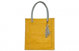 yellow & grey tote bag with detachable tassel