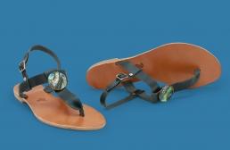 sandale cu ornament de sidef