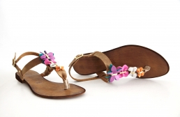 leather sandals with butterflies