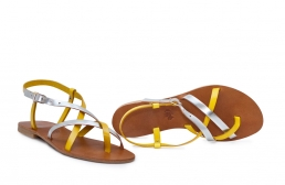 sandale paula galben/argintiu