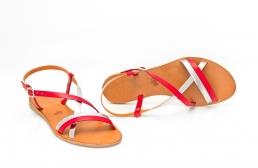sandale mira rosu & argintiu