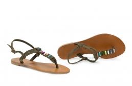 sandale kaki cu margele de sidef