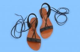 (RO) sandale negre cu snur