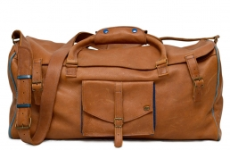 large cognac leather travel bag